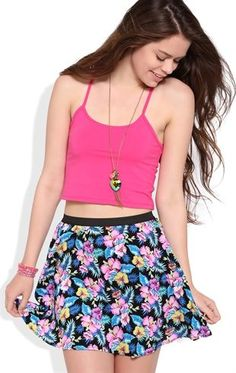 Deb Shops #Tropical Floral Print Skater Skirt with Elastic Waistband $14.25