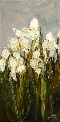 "Original art for sale at UGallery.com | White Irises by Judy Mackey | $450 | oil painting | 24"" h x 12"" w 