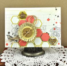 I love the hexagons, stamping and mists on here. Definitely one to lift!