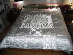 """repinning for my sheer amazement of this quilt. Must have been such a pain in the @$$ to quilt this thing! Beautiful, would love to try this in a more """"me"""" bedding fabric"""