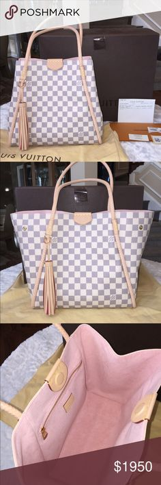 Authentic LOUIS VUITTON Propriano D'Azur Tote Bag BRAND NEW! AUTHENTIC! Louis Vuitton Propriano D'Azur Damier with Rose Ballerine Lining and Braided Leather Trim Tote. A stunning alternative to a Neverfull, this new design from LV is back ordered ! With a magnetic closure, beautiful braided handles, piping, a playful LV tassel an interior zippered pocket this is just a stunning purse! The inside has a soft pink microfiber lining. Versatile! Chic! And Gorgeous!! Brand new! Never Carried…