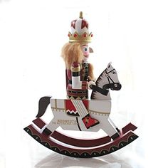 Yzakka 12Inch Nutcracker Wooden Soldier on Rocking Horse Toy Ornaments Holiday Decoration Gifts Spirit >>> Haven't you heard that you can find more discounts at this image link : Nutcrackers