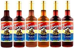 Torani Syrup Fruit Bowl 6 Pack, Raspberry, Strawberry, Blackberry, Cherry, Orange and Peach