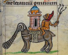 Indian elephant with howdah painted by an occidental medieval monk