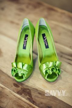 Nina Apple Green peep-toed pumps. My wedding shoes! Love!    Photo: Sugar Snap Photography