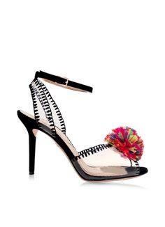 Charlotte Olympia Black Patent Leather Sandal w/Raffia Pompom