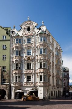 The Helblinghaus located in the Old Town of Innsbruck, Austria was originally built in the century and received it's elaborate facade three decades later. Innsbruck, Unique Buildings, Beautiful Buildings, Facade Architecture, Amazing Architecture, Baroque Architecture, Classical Architecture, Beautiful Sites, Beautiful Places