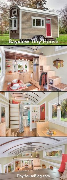 OMG I love this Bayview Tiny House. This is exactly what I want in a tiny house! A larger fridge and shower than normal. Tyni House, Tiny House Living, Tiny House Plans, Tiny House On Wheels, Casas Containers, Tiny House Nation, Tiny House Movement, Small Places, Tiny Spaces