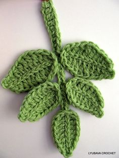 Tutorial Pattern Crochet Applique Branch of Leaves, Chunky Crochet Green Leaf Pattern, Unique Crochet Item Lyubava Crochet Pattern number 76. via Etsy. #crochetflowers