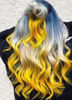 50 Happy Hair Color for Summer Ideas - Women Hairstyles Cute Hair Colors, Pretty Hair Color, Hair Dye Colors, Yellow Hair Color, Summer Hair Colour, Creative Hair Color, Dying My Hair, Neon Hair, Lilac Hair