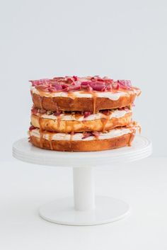 Rhubarb, salted caramel and pistachio cake | The Brick Kitchen-6