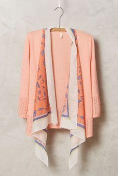 Scarf-Print Sweaterknit Cardi