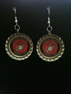 United States Marine Corps Earrings. $7.00, via Etsy.