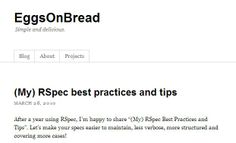 Eggs On Bread - RSpec Best Practices