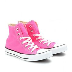 Converse Chuck Taylor All Star High-Top Sneakers ($52) ❤ liked on Polyvore featuring shoes, sneakers, converse, pink, zapatos, pink sneakers, high top trainers, converse footwear, neon pink high tops and pink high top shoes