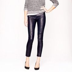 Leather pants and a sweater