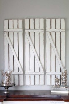 A Roundup Of Vintage Crafts And Ideas - Rustic Crafts & Chic Decor Rustic Crafts, Vintage Crafts, Vintage Decor, Rustic Decor, Vaseline, Shutter Wall Decor, Weathered Paint, Old Shutters, Distressed Furniture