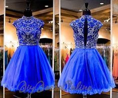 AHC178 New Arrival High Neck Royal Blue 2k15 Homecoming Dress,Beaded Bodice Short Prom Dress