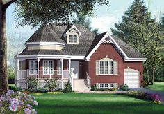 House Plan 49549 - Victorian , House Plan with 1273 Sq Ft, 3 Bed, 1 Bath, 1 Car Garage Family House Plans, Best House Plans, Small House Plans, House Floor Plans, Victorian House Plans, Victorian Homes, Open Concept Home, Cottages And Bungalows, Inviting Home