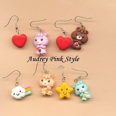 Él Encontrado Este interesante Anuncio de Etsy en https://www.etsy.com/es/listing/167640632/earrings-care-bear-polymer-clay-fimo