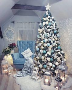 Choinka christmas tree christmas idea blue christmas Blue Christmas Decor, Colorful Christmas Tree, Beach Christmas, Christmas Tree Themes, Beautiful Christmas Trees, Christmas 2019, Christmas Colors, Christmas Love, Silver Christmas