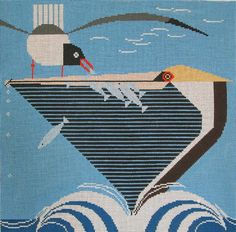 Charley Harper Needlepoint<BR>Pelican Pantry (In Stock)