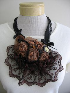 Bronze and Black Rose Bib Necklace by TwoLittleSunflowers on Etsy, $65.00