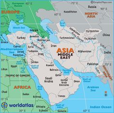 Large map of Middle East, easy to read and printable