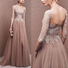 Elegant prom dress, long prom dress, lace prom dress, long sleeve prom dress, a line prom dress, evening dress, charming affordable prom dress,44