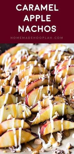 Have your candy apple the easy way: served as dessert nachos with cut apples drizzled with caramel sauce, white chocolate, and crumbled Heath candy bars. Best Apple Recipes, Best Cake Recipes, Sweets Recipes, Fruit Recipes, Fall Recipes, Favorite Recipes, Easy To Make Appetizers, Appetizers For Party, Fancy Party Food