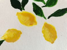 """Three lemons with deep green leaves lie on bright white. This painting is cheery and carefree. It is a 3""""x5"""" painting on paper, mounted on an 5""""x7"""" stretched canvas and framed in a maple floater frame. Your Paintings, Original Paintings, Visual Cue, Stretched Canvas, Green Leaves, Watercolor Paper, Custom Framing, Vibrant, Bright"""