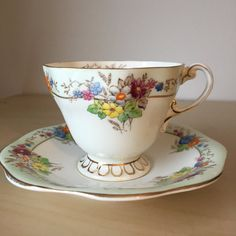 Foley Flower Teacup and Saucer, Hand Painted Floral Tea Cup and Saucer, Bone China, 1930s