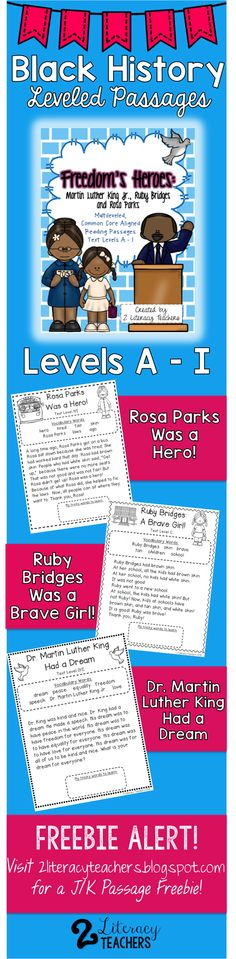 Black History Month and MLK leveled passages. Each passage has levels A-I. Perfect for guided reading, independent practice, whole group or partner work. Also, visit 2literacyteachers.blogspot.com for a J/K level passage freebie to accompany this set!