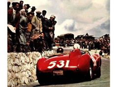 Fon de Portago and Ed Nelson at the 1957 Mille Miglia. Minutes later both would be killed, along with several others, and the MM would be finished forever.