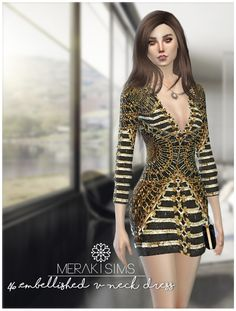 Embellished V neck dress at Merakisims via Sims 4 Updates