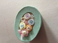 Pale green painted box decorated with buttons  by SewingNikki, £4.00