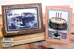 Cards by Rachel Greig using Darkroom Door Old Car and Birthday Cake Photo Stamps.