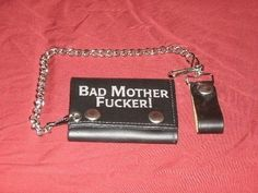 """Leather Wallet with Chain """"Bad Mother F******"""" Pulp Fiction"""