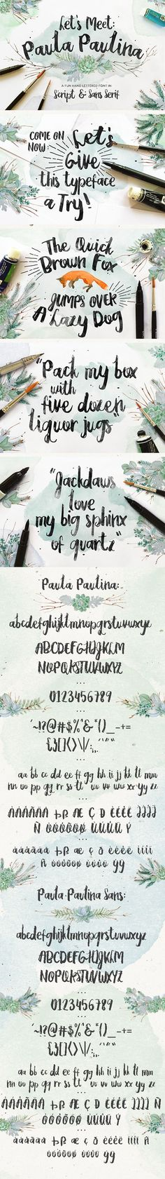Paula Paulina is a duo font, script & sans, that mixes modern hand lettered typeface with dynamic curvy style. Vintage Typography, Typography Fonts, Typography Design, Cursive Fonts, Handwritten Letters, Hand Drawn Fonts, Hand Lettering, Font Shop, Christmas Fonts