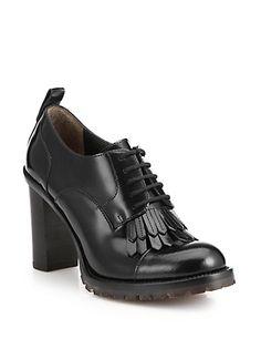 Valentino - Block-Heeled Fringed Leather Brogues