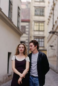 "michellewilliamss: ""Julie Delpy and Ethan Hawke on the set of Before Sunrise. """