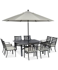 "Highland Aluminum Outdoor 9-Pc. Dining Set (64"" Square Dining Table and 8 Dining Chairs) with Sunbrella® Cushions, Created for Macy's Square Dining Tables, Dinning Table, Dining Set, Dining Chairs, Outdoor Dining Furniture, Outdoor Spaces, Outdoor Decor, Backyard, Patio"