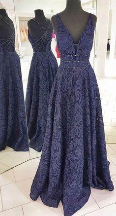 simple purple lace long prom dresses, unique special back party dresses with beading, elegant v neck evening gowns #eveningdresses