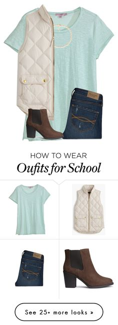 """""""My school's football team is going to state!"""" by ponyboysgirlfriend on Polyvore featuring Calypso St. Barth, Carolee, J.Crew, Abercrombie & Fitch and H&M"""