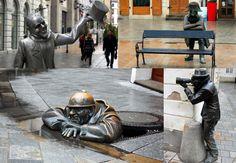 Slovakia, Bratislava - Statues on the Street
