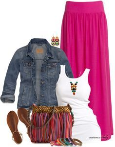"""""""Gypsies, Tramps, and Thieves"""" -- love my long skirts (and bright is good), basic white t or tank and top it off with the classic/basic denim jacket --- LOVE!!"""