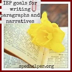 Common Core aligned goals on writing topic sentences, conclusions, paragraphs, and narratives for you to copy and customize.