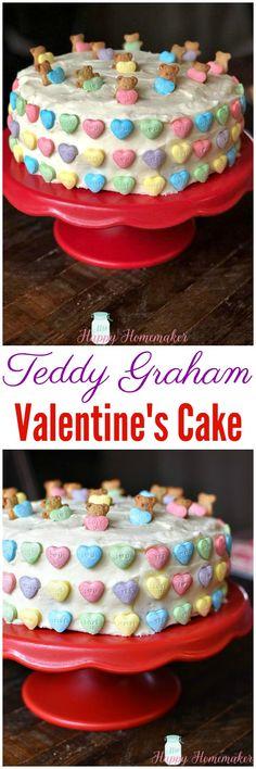 Easy Teddy Graham Valentine's Cake – Mrs Happy Homemaker Holiday Cakes, Holiday Treats, Delicious Desserts, Dessert Recipes, Teddy Grahams, Valentines Day Cakes, Eat Dessert First, Cupcake Cakes, Cupcakes