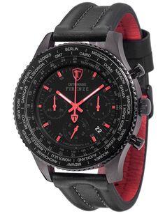 DETOMASO Firenze Mens XXL Watch Quartz Analogue Chronograph Black Red Leather Strap DT1045-E