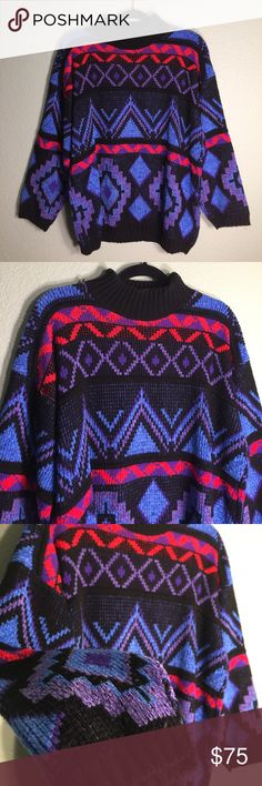 Rare Colorful 90s 80s Vintage Sweater Crewneck Colorful Vintage 90s 80s Crewneck Sweater | 100% Acrylic | Size: Medium (Tag reads large, but fits like a medium) | Condition: Pre-owned (Wonderful condition, like-new, no major flaws) Vintage Sweaters Crewneck